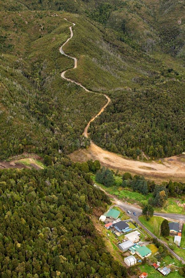 Vue des maisons et des bâtiments Queenstown Tasmanie photo stock