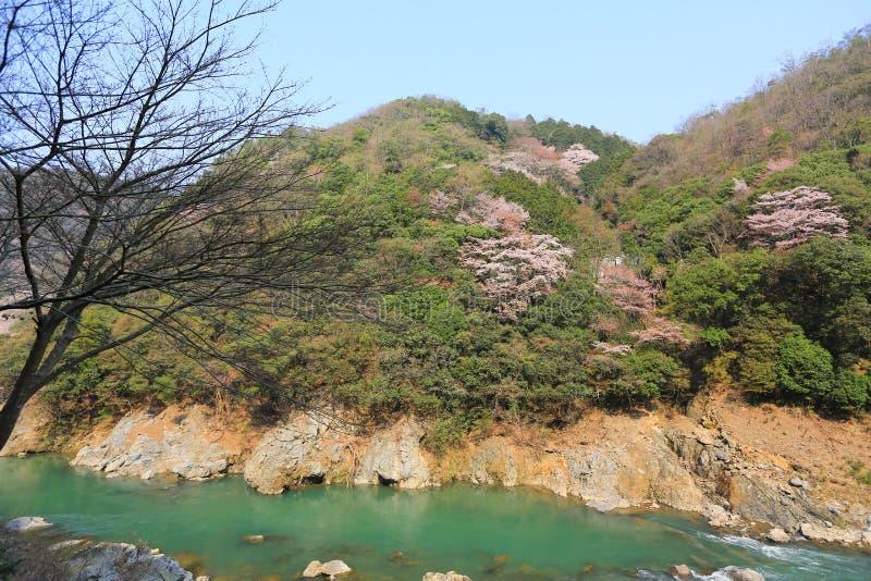 Vue des montagnes et de la rivière du train romantique en dehors de K images stock