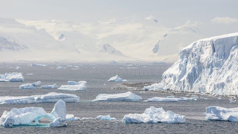 Vue des montagnes et des icebergs de glace sur la baie en Antarctique photos libres de droits