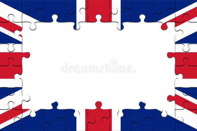 Vue des morceaux BRITANNIQUES de casse-tête de drapeau avec l'espace de copie, illustration 3d illustration de vecteur