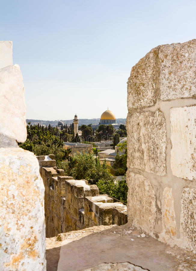 Vue des murs de Jérusalem antique photographie stock