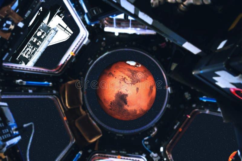 Vue des planètes de navette spatiale et de système solaire de station spatiale photo stock
