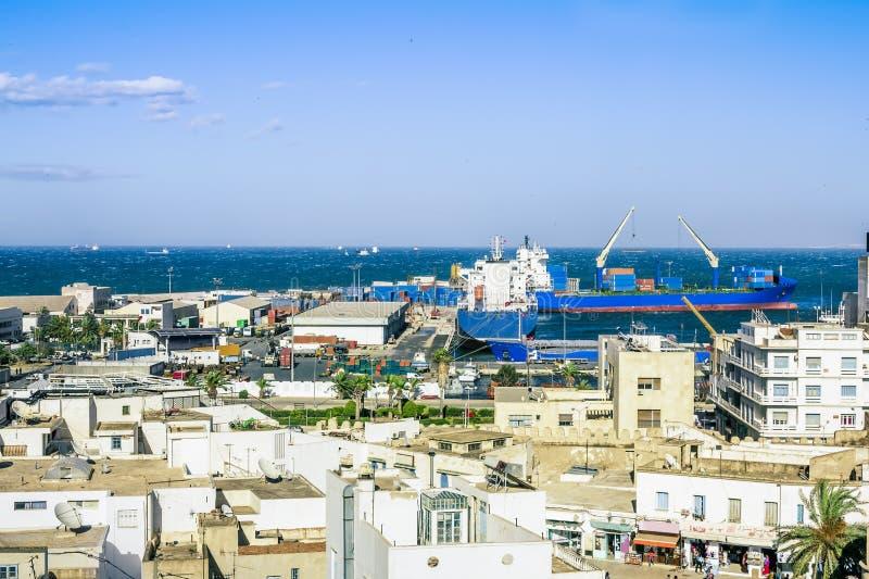 Vue des tailles au-dessus du port de Sousse Tunisie photo stock