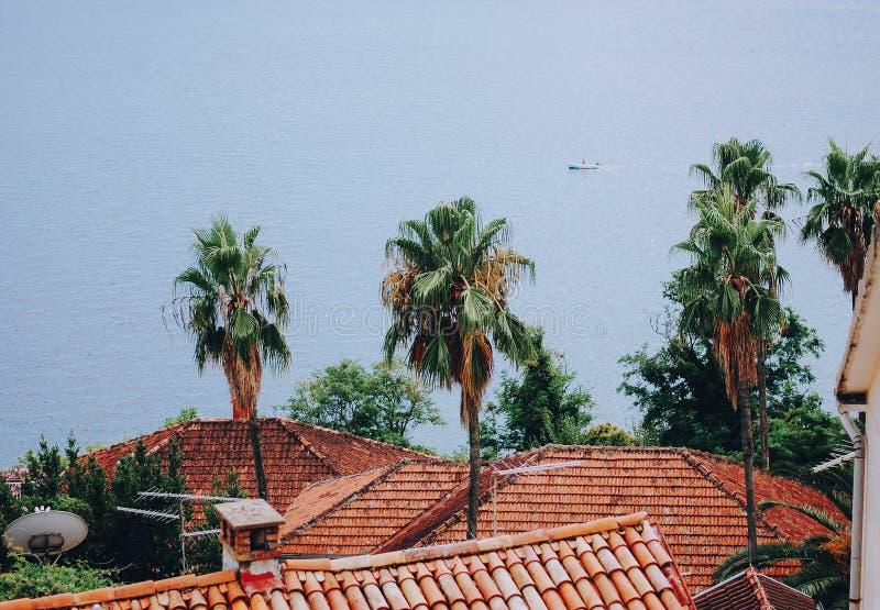 Vue des toits et de la mer, Herceg Novi, Monténégro photo libre de droits