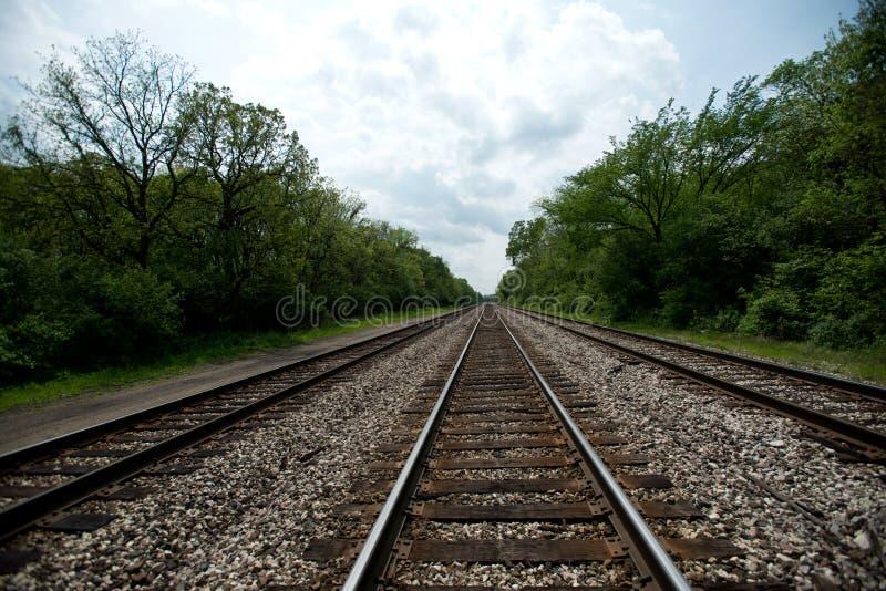 Vue des voies ferrées avec des arbres images libres de droits