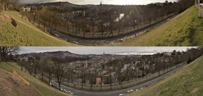 Vue deux panoramique de vieille ville de Berne switzerland photos libres de droits