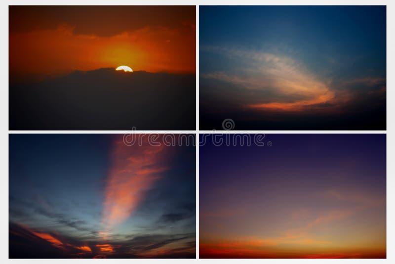 Vue dramatique de panorama de l'atmosphère de ciel et de nuages de coucher du soleil sur la TW photographie stock