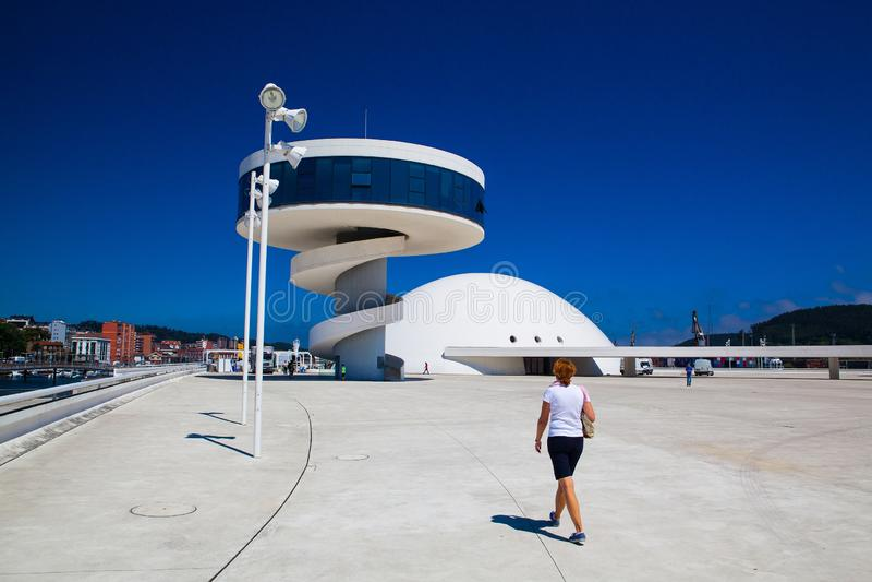 Vue du bâtiment de centre de Niemeyer à Aviles, Espagne photos stock
