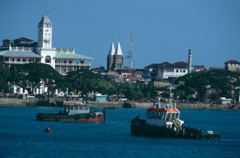 Vue du bord de mer de la ville en pierre, Zanzibar image stock