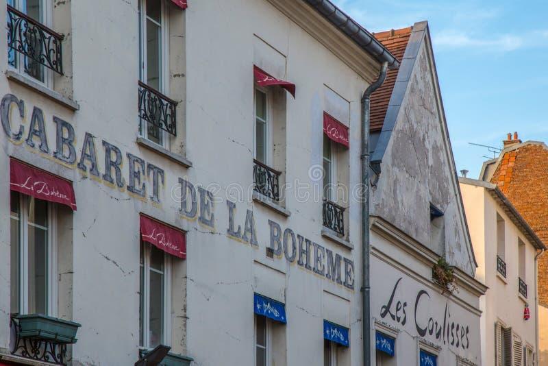 Vue du cabaret typique de Paris, façade de Cabaret de la Boheme images libres de droits