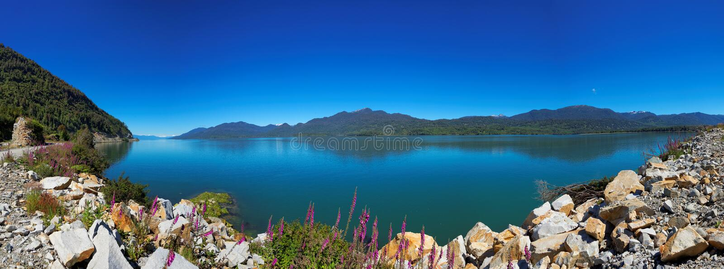 Vue du Carretera austral, Puyuhuapi, Patagonia, Chili photographie stock libre de droits