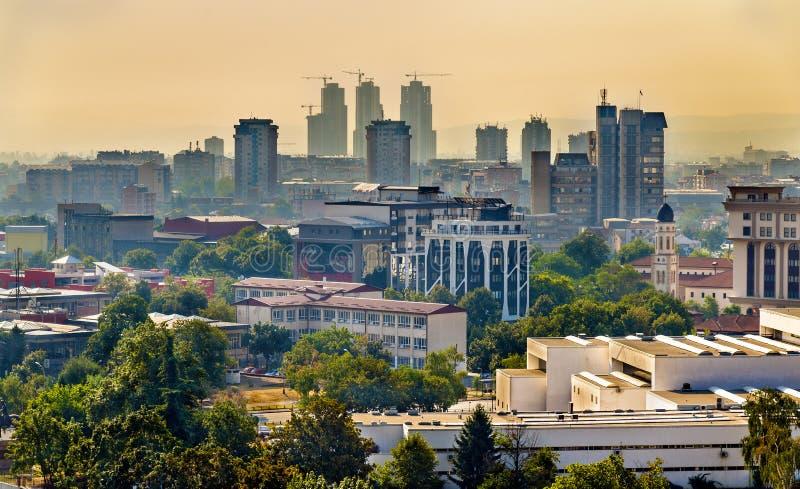 Vue du centre de la ville de Skopje images libres de droits