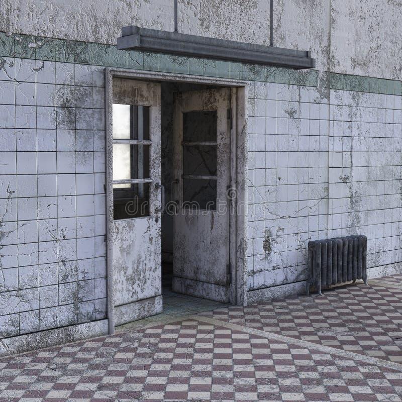 Vue du couloir dans un hôpital psychiatrique avec les murs minables illustration stock