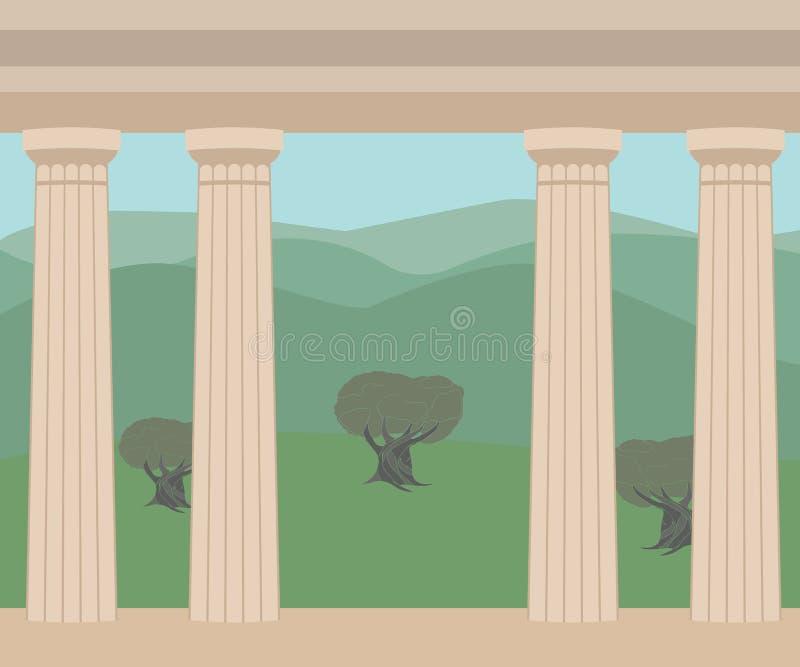Vue du grec ancien avec des colonnes illustration stock