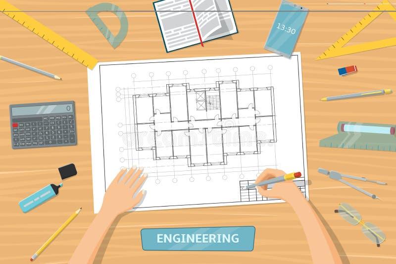 Vue du haut de table avec des outils pour le dessin illustration de vecteur