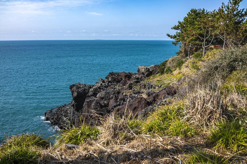 Vue du Jusangjeollidae Jusangjeolli sont les piliers en pierre empilés le long de la côte et sont un monument culturel indiqué de photo libre de droits