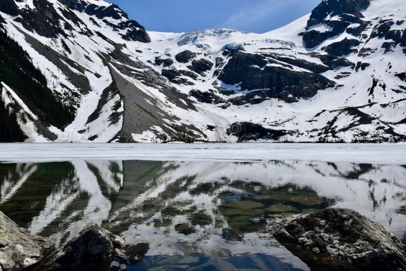 Vue du lac supérieur, Joffre Lakes, Canada image libre de droits