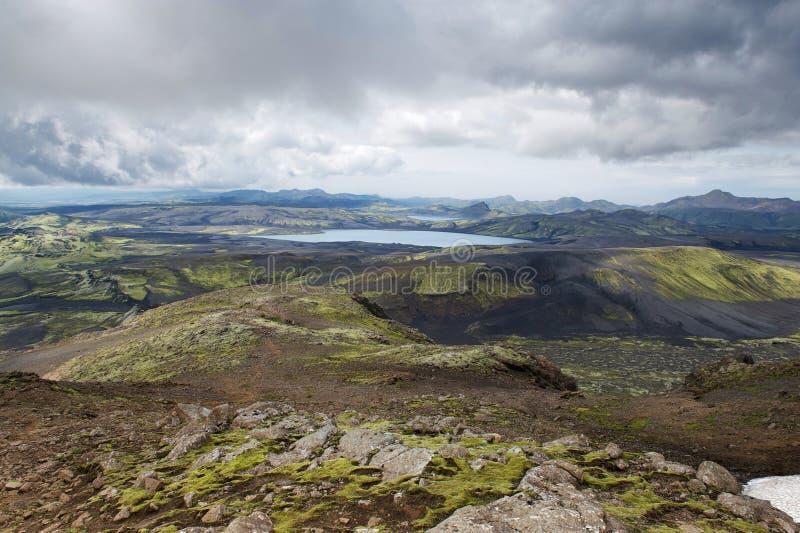Vue du Lakagigar avec des lacs et des roches, Islande photos libres de droits