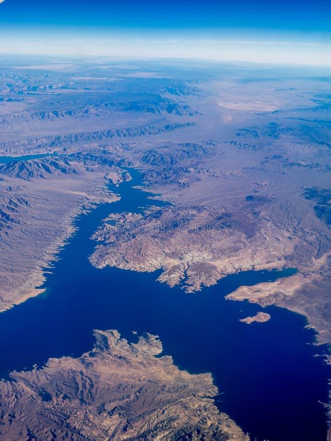 Vue du Lake Mead de l'air images stock