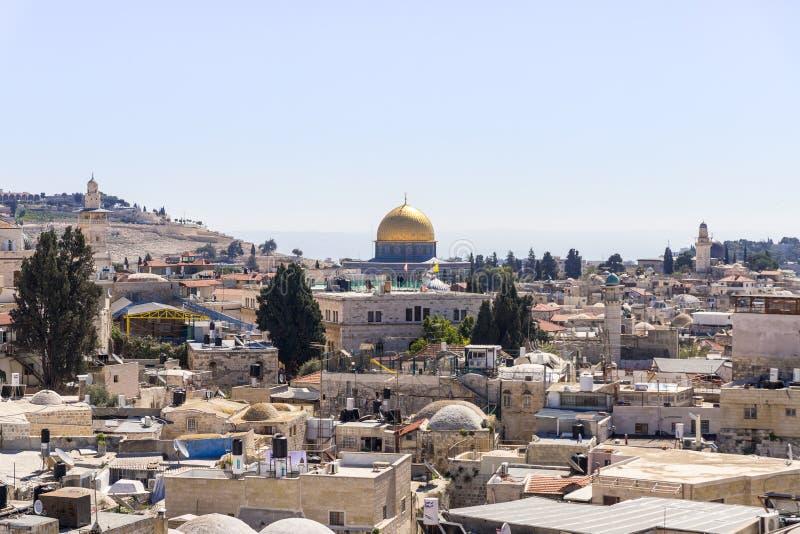 Vue du mur de ville près de la porte de Damas sur l'Esplanade des mosquées dans la vieille ville de Jérusalem, Israël photographie stock