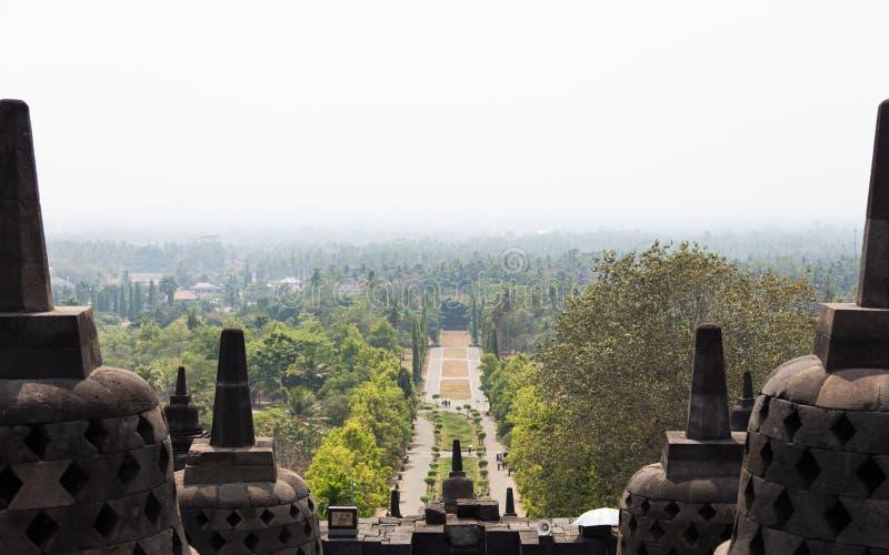 Vue du niveau supérieur du temple de Borobudur, Java, Indonésie photo stock