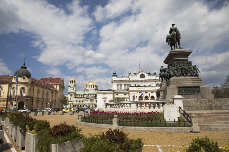 Vue du parlement, monument au libérateur de tsar, Alexander Nevsky Memorial Temple images libres de droits