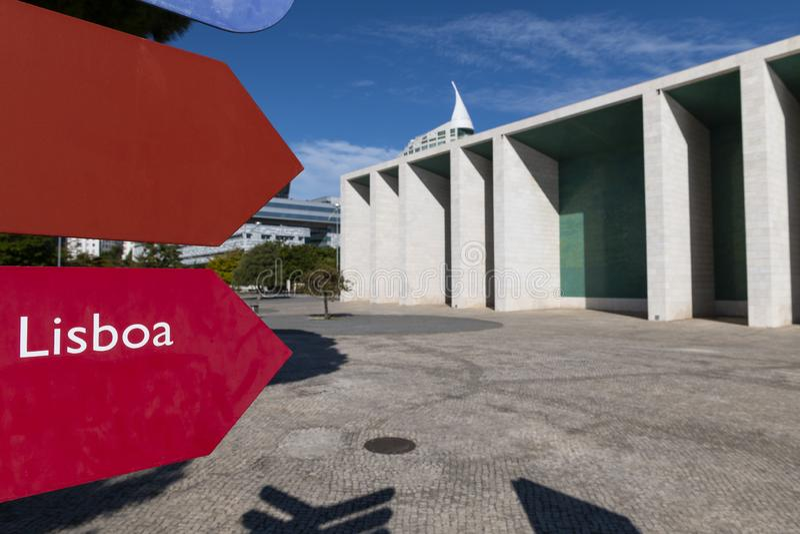 Vue du pavillon Pavilhao De Portugal du Portugal au parc des nations dans la ville de Lisbonne photo stock