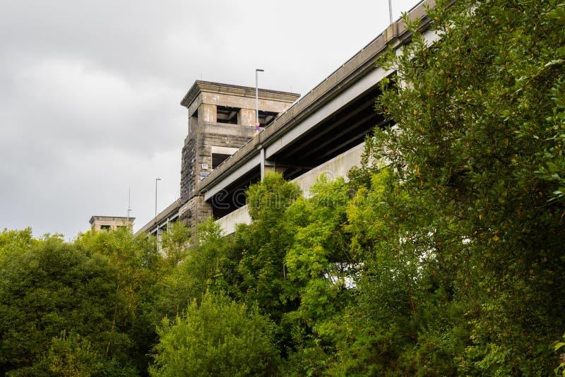 Vue du pont de Britannia de dessous image libre de droits