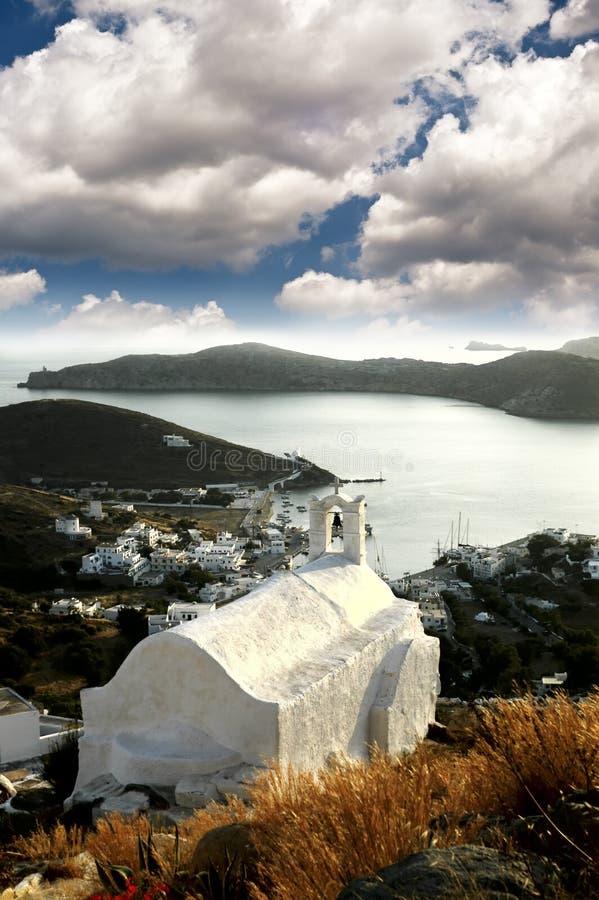 Vue du port de l'île d'IOS, Grèce image libre de droits