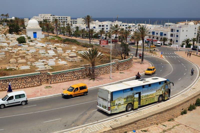 Vue du port de Monastir et de la mer Méditerranée image libre de droits