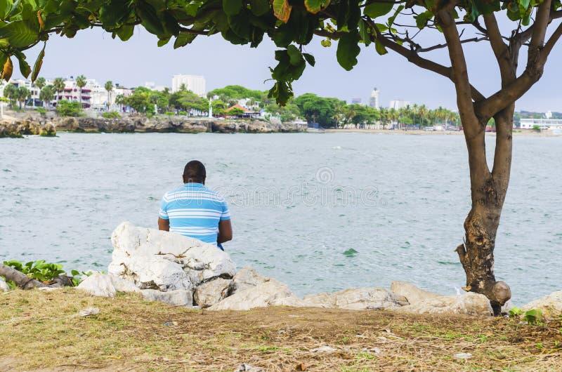 Vue du port de Santo Domingo Dominican Republic de place de Juan Baron photo libre de droits