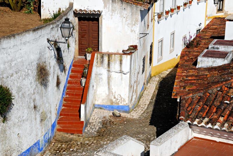 vue du Portugal d'obidos de medievaltown image libre de droits
