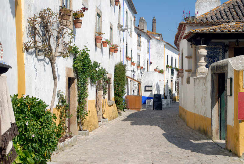vue du Portugal d'ofmedievaltown d'obidos image stock