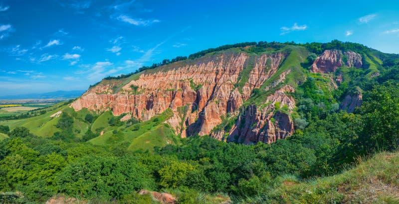 Vue du ravin rouge (Rapa Rosie), Roumanie photos stock