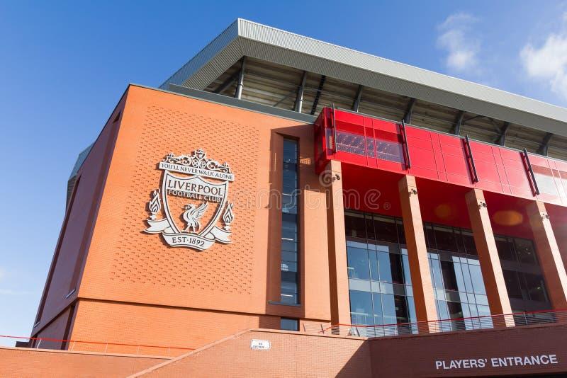 Vue du stade d'Anfield, maison de club du football de Liverpool images libres de droits