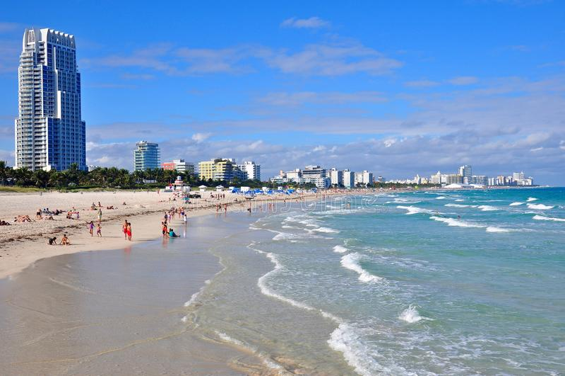 Vue du sud de point de Miami Beach du littoral photos libres de droits