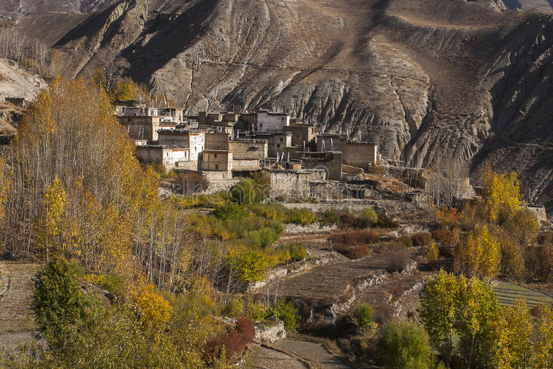 Vue du village Jhong images stock