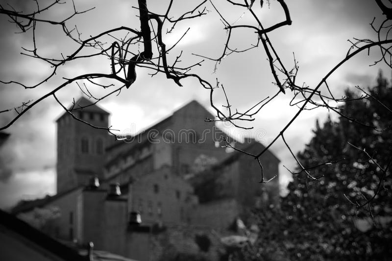 Vue effrayante de château photo stock