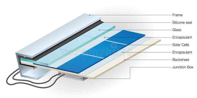 Vue en coupe montrant des parties de panneau solaire avec des noms sur l'énergie renouvelable de fond blanc - image de vecteur illustration de vecteur