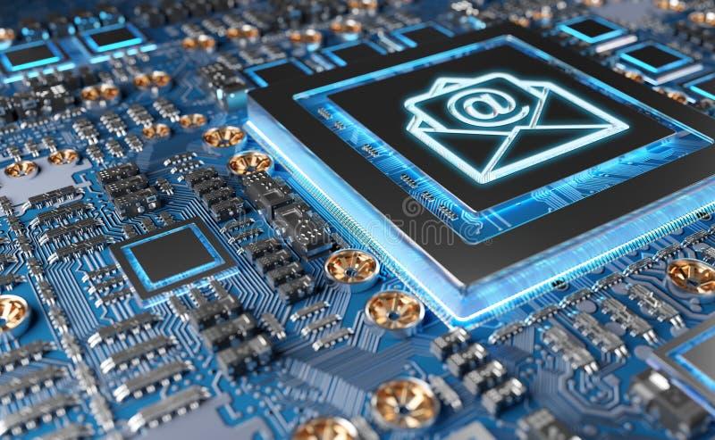 Vue en gros plan d'une carte moderne de GPU avec le rendu de l'icône 3D d'email illustration stock