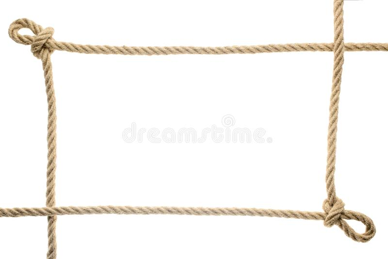 vue en gros plan de cadre de corde avec des noeuds photographie stock