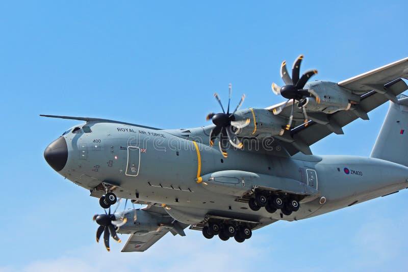 Vue en gros plan de Royal Air Force Airbus A400M photos libres de droits