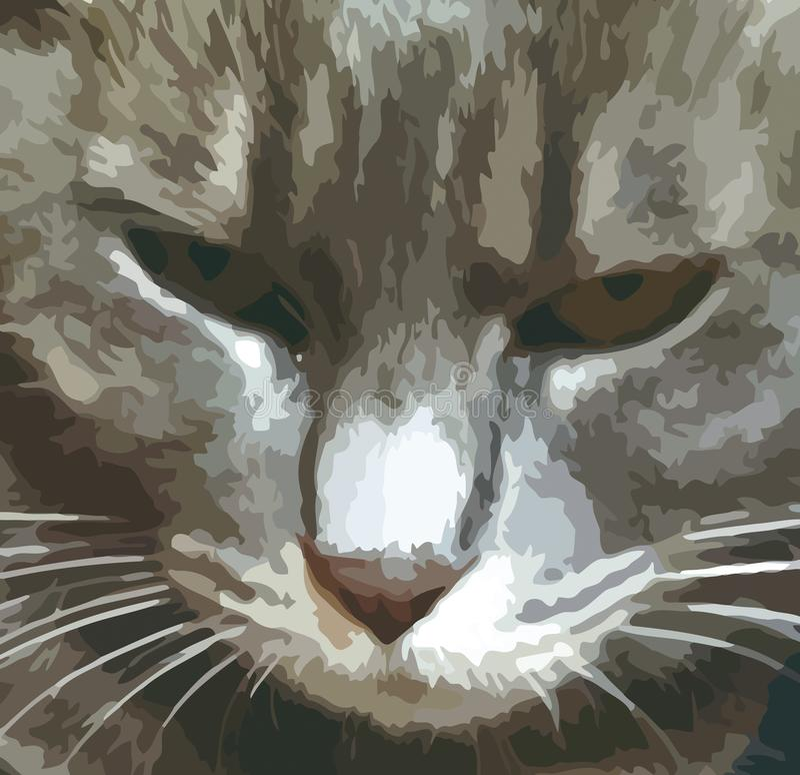 Vue en gros plan du visage d'un chat, dessin illustratif illustration de vecteur