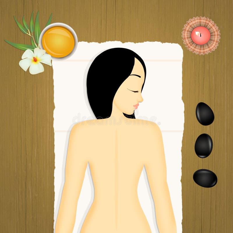 Vue en pierre de massage de fille d'en haut illustration stock
