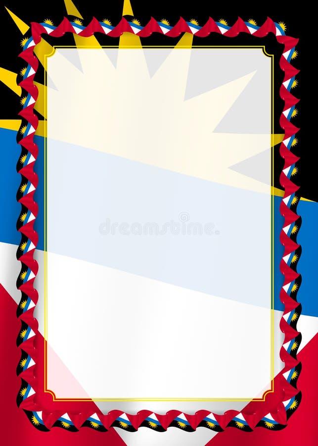 Vue et frontière de ruban avec le drapeau de l'Antigua-et-Barbuda, éléments de calibre pour votre certificat et diplôme Vecteur illustration libre de droits