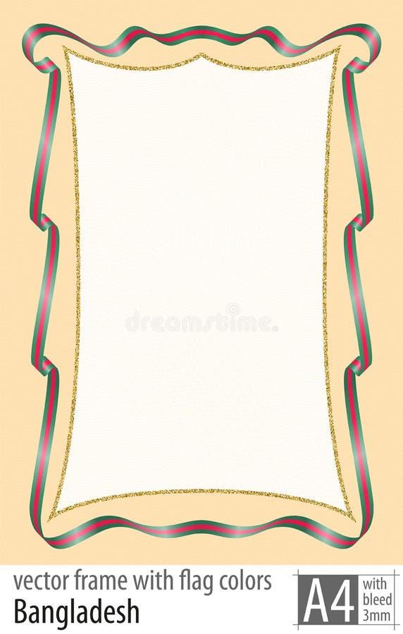 Vue et frontière de ruban avec les couleurs du drapeau du Bangladesh, avec la grille protectrice Vecteur, avec la purge trois mil illustration stock