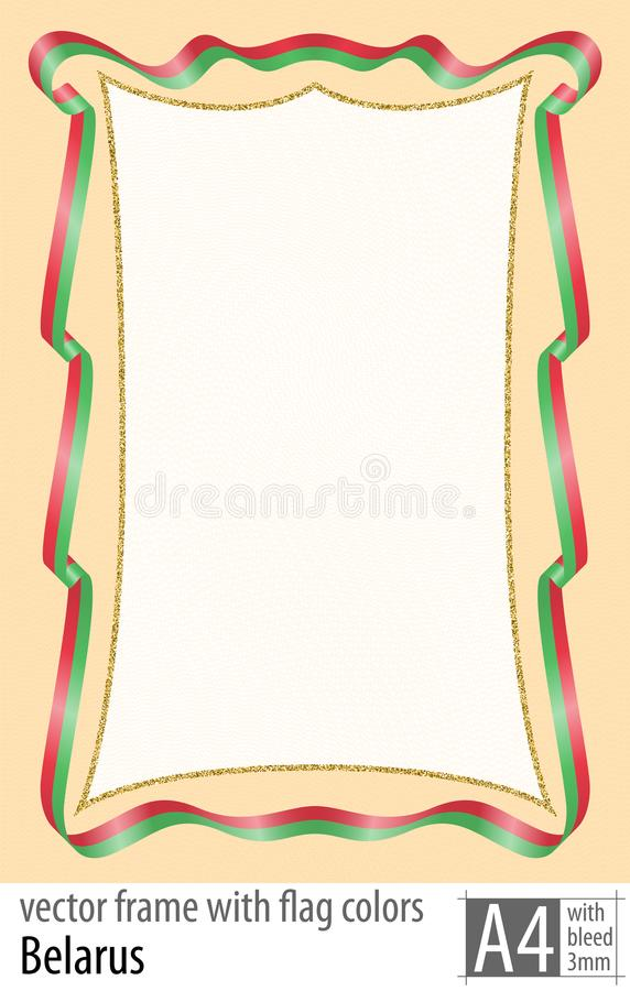 Vue et frontière de ruban avec les couleurs du drapeau du Belarus, avec la grille protectrice Vecteur, avec la purge trois millim illustration stock