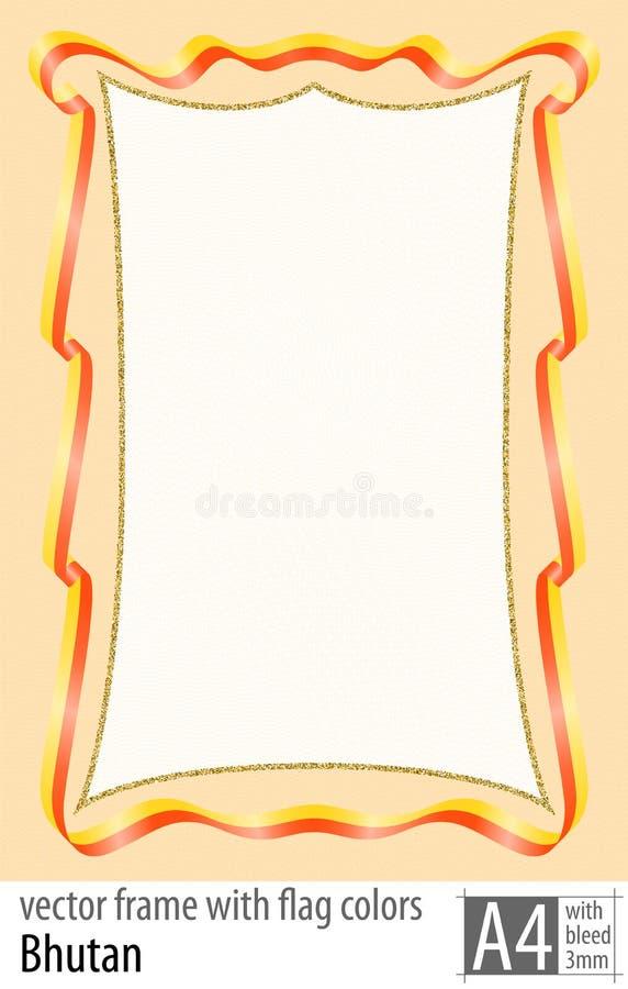 Vue et frontière de ruban avec les couleurs du drapeau du Bhutan, avec la grille protectrice Vecteur, avec la purge trois millimè illustration stock