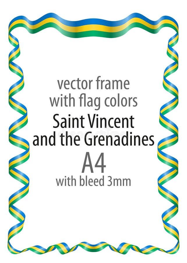 Vue et frontière de ruban avec les couleurs du drapeau de Saint-Vincent-et-les-Grenadines illustration stock