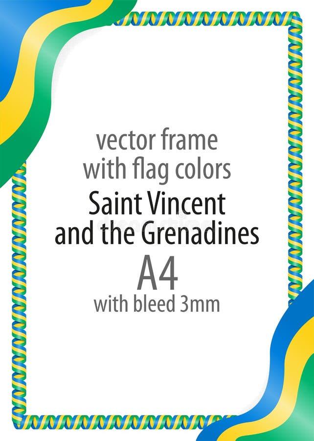 Vue et frontière de ruban avec les couleurs du drapeau de Saint-Vincent-et-les-Grenadines illustration libre de droits